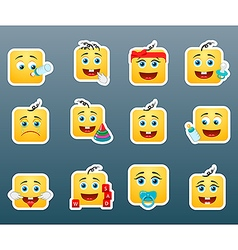 Kids smile stickers vector