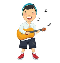 Of a little boy playing guitar vector