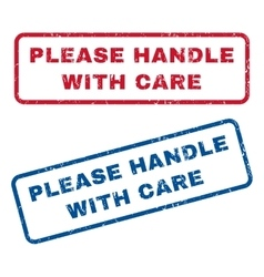 Please Handle With Care Rubber Stamps vector image