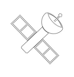 Satellite sign black dotted vector