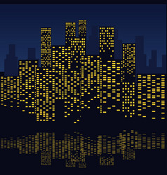 skyscrapers with water reflections at night vector image
