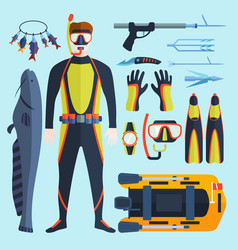 Spearfishing set vector