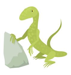 Standing lizard icon cartoon style vector