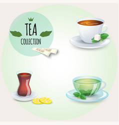 Tea collection different styles cups and glass vector