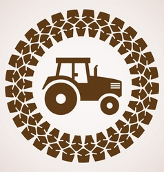tire print with symbol of tractor vector image vector image