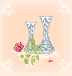 Vases and rose as engraving vintage vector image vector image