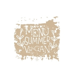 Vegan summer menu calligraphic cafe board vector