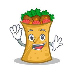 waving kebab wrap character cartoon vector image