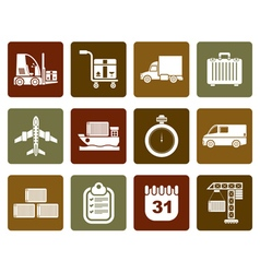 Flat logistics shipping and transportation icons vector