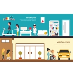 Healthcare and medical center flat hospital vector