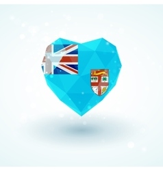 Flag of fiji in shape diamond glass heart vector