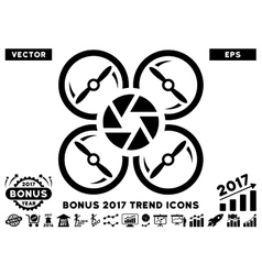 Shutter drone flat icon with 2017 bonus trend vector