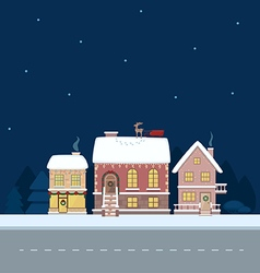 Christmas town card vector