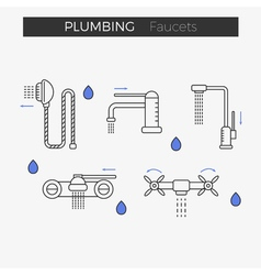 Faucets water tap thin line icons set vector