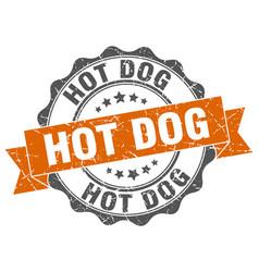 Hot dog stamp sign seal vector