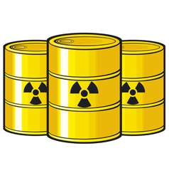 Barrels with nuclear waste vector