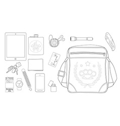 Every day carry man items set2 line-art vector