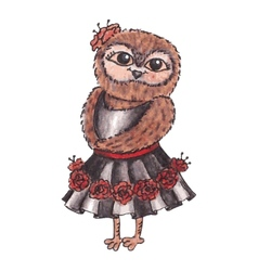 Cute owl in a dress watercolor vector