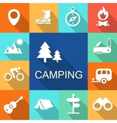Camping icons travel and tourism concept vector