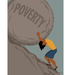 Woman in poverty vector