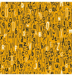 Seamless different letters pattern yellow vector