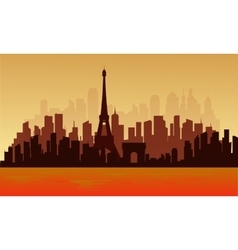 View of big city france silhouette vector