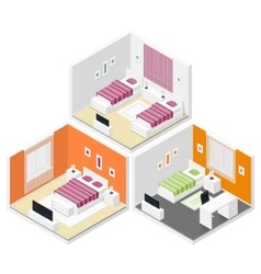 Bedrooms isometric icon set vector