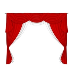 Classic red and white curtain vector image