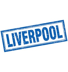 Liverpool blue square grunge stamp on white vector