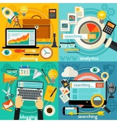 Planning blogging web searching and analytics vector