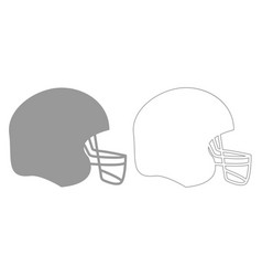 American football helmet grey set icon vector