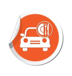 Car with meal icon orange label vector