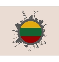 Circle with industrial silhouettes lithuania flag vector