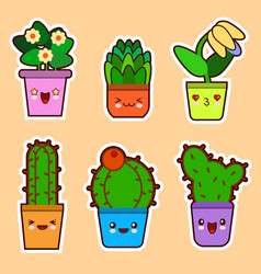 Cute cartoon kawaii set of plant cactus vector
