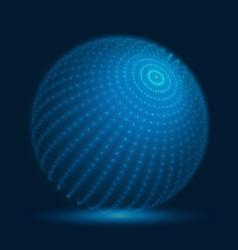 cyber sphere blue big data sphere vector image vector image
