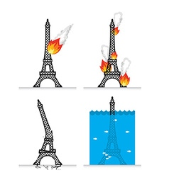 Destruction of Eiffel Tower in Paris Meteorite vector image vector image