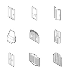 Doorway in house icons set outline style vector