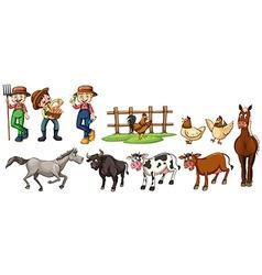 Farmers and farm animals set vector