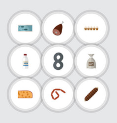 Flat icon food set of eggshell box cheddar slice vector