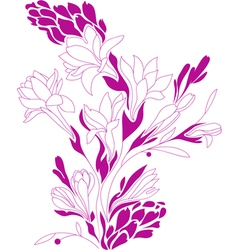 Flowers contour drawing vector image vector image