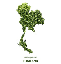 Green leaf map of thailand vector