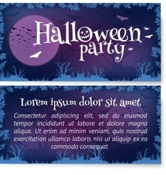 Halloween party flyer template in dark purple vector