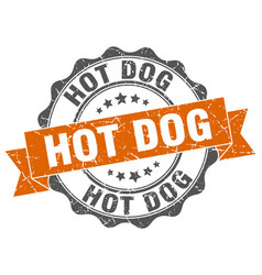 Hot dog stamp sign seal vector