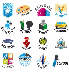 large set of logos School vector image vector image