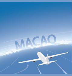 Macao skyline flight destination vector