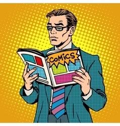Man reads comic book vector