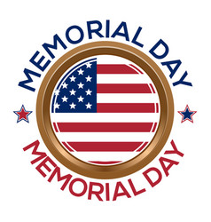 Memorial day design golden round medallion vector