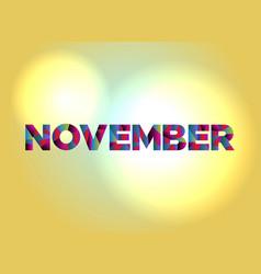 November concept colorful word art vector