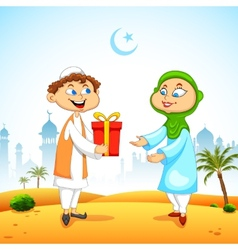 People presenting gift to celebrate Eid vector image vector image