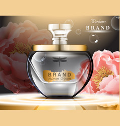 Perfume bottle delicate roses fragrance realistic vector